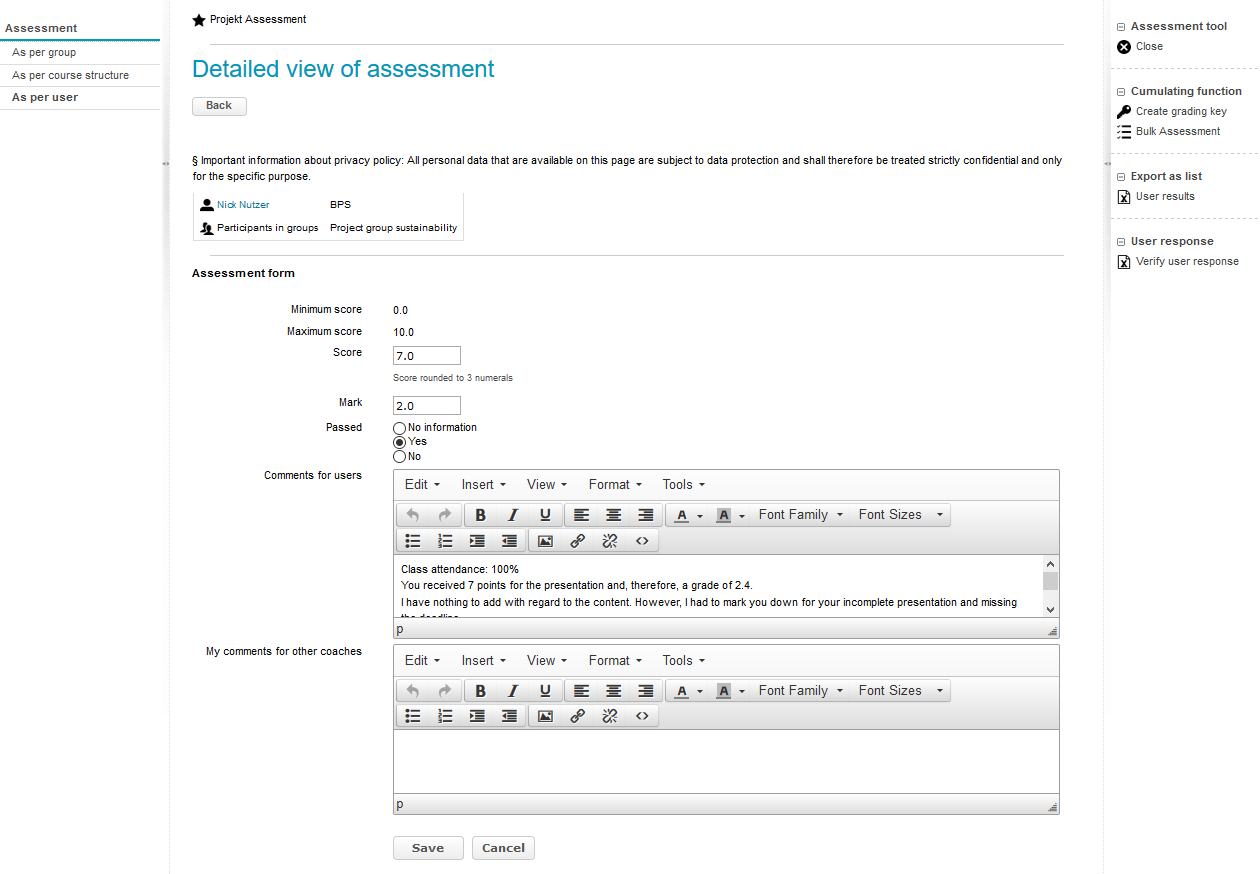 Assessment form in the assessment tool