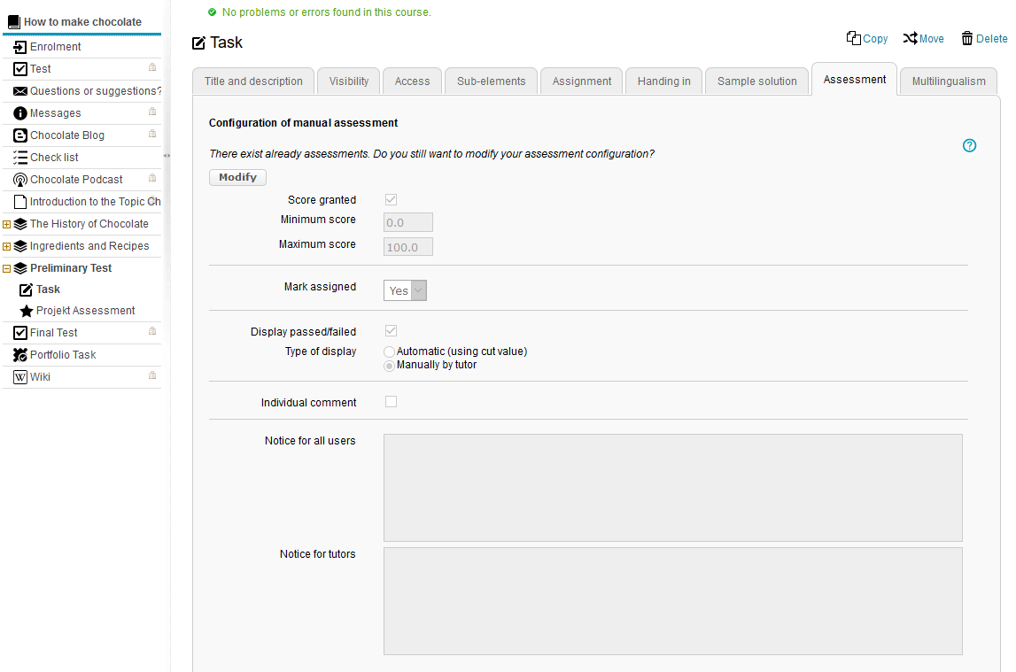 Configuration of the assessment form in the course editor