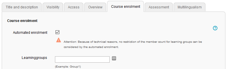 Course enrolment tab in the course editor
