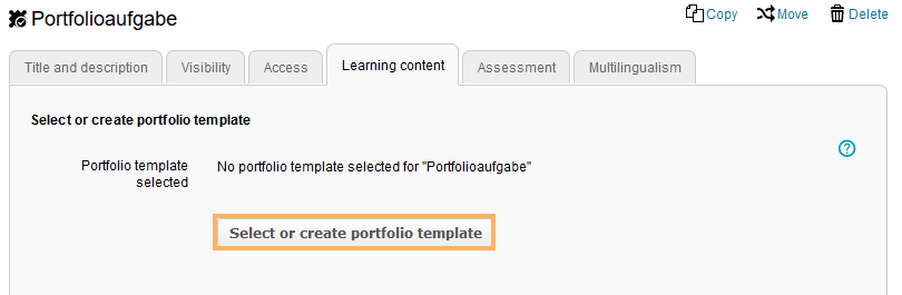 Select or create portfolio template button