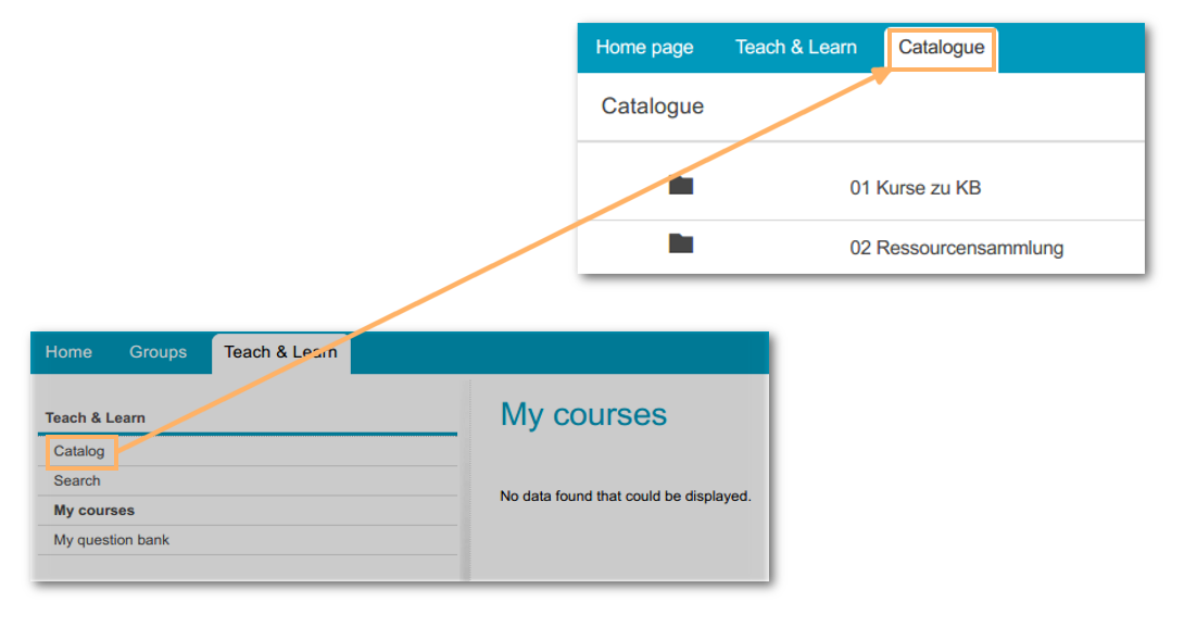 New user interface, course catalogue
