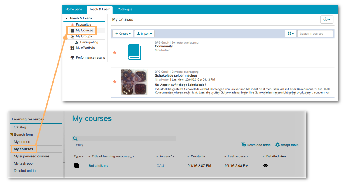 New user interface, courses