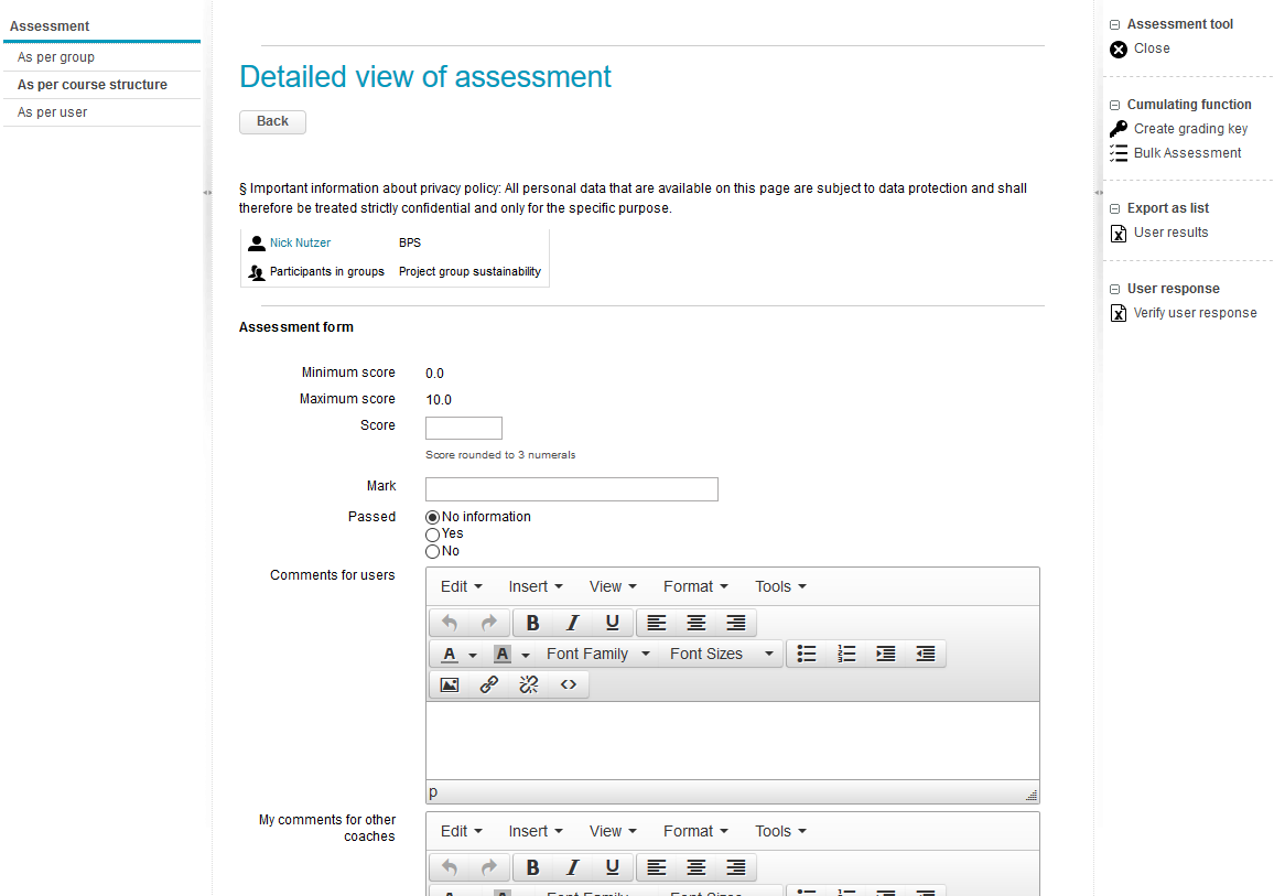 Opened assessment form in the assessment tool