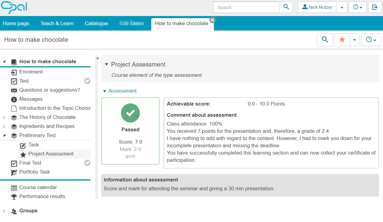 User view example of a course element assessment