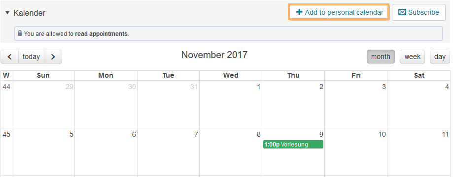 Add to personal calendar button