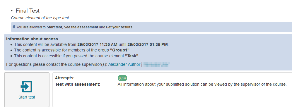 Course element with notification message about authorisation restrictions
