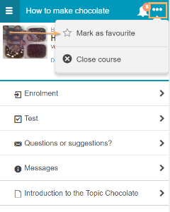 Mark course as favourite - mobile view